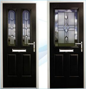 2 composite doors side by side in black