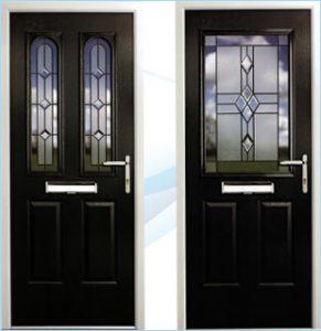 2 composite doors side by side in black